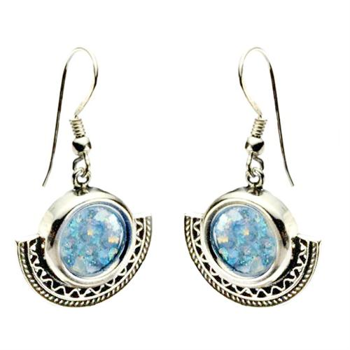 Sterling Silver Half Circle Roman Glass Earings - Baltinester Jewelry