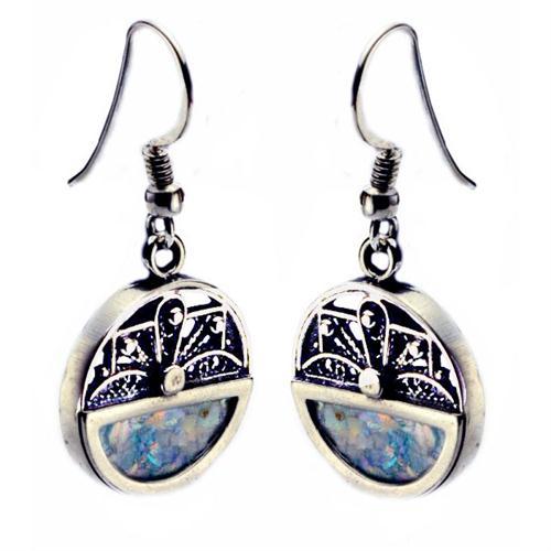 Sterling Silver Filigree Roman Glass Earring - Baltinester Jewelry