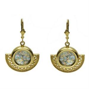 14k Gold Half Circle Roman Glass Earrings - Baltinester Jewelry