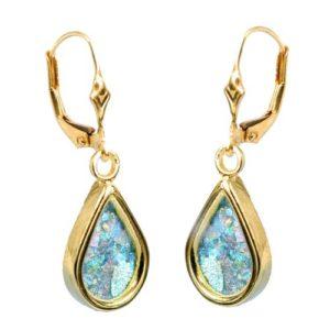 14k Gold Roman Glass Tear Drop Earrings - Baltinester Jewelry