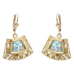 14k Gold Roman Glass Trapezoid Earrings - Baltinester Jewelry