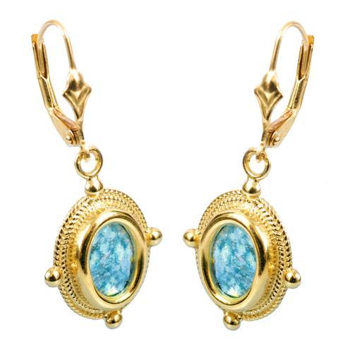 14k Gold Roman Glass Yemenite Design Earrings - Baltinester Jewelry