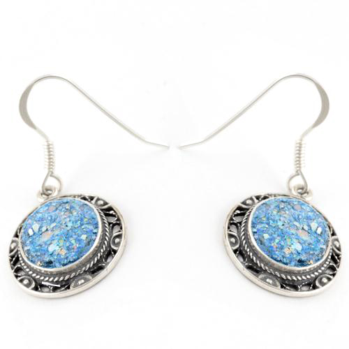 Roman Glass Embossed Earrings - Baltinester Jewelry
