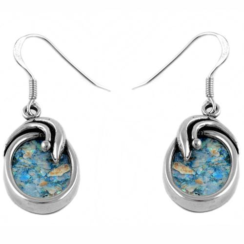 Roman Glass Oval Shaped Silver Earrings - Baltinester Jewelry