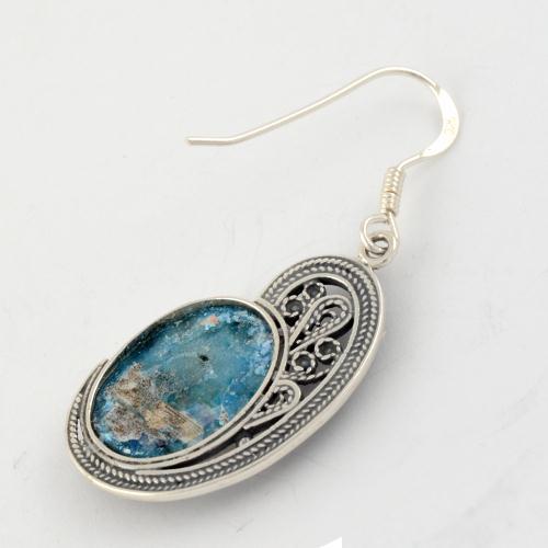 Roman Glass Shell Shape Earrings 2 - Baltinester Jewelry