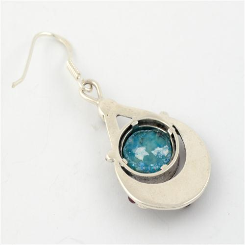 Sterling Silver Floral Garnet Roman Glass Earrings 2 - Baltinester Jewelry