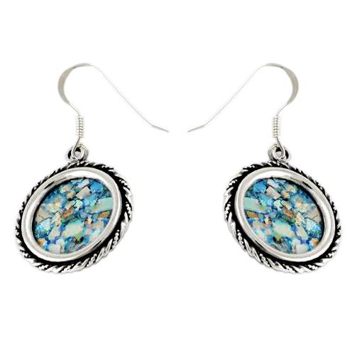 Roman Glass Silver Rope Earrings - Baltinester Jewelry