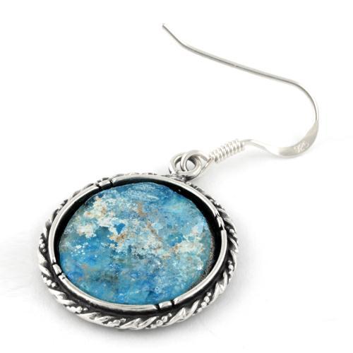 Roman Glass Silver Rope Earrings 2 - Baltinester Jewelry