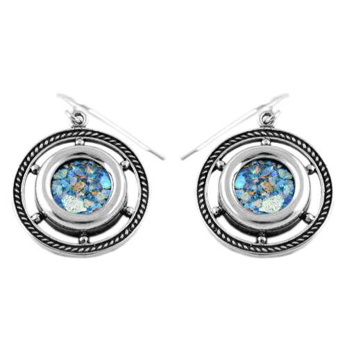 Roman Glass Ship's Wheel Silver Earrings - Baltinester Jewelry