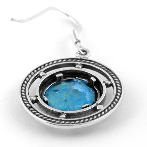 Roman Glass Ship's Wheel Silver Earrings 2 - Baltinester Jewelry