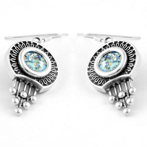 Silver Bead Roman Glass Earrings - Baltinester Jewelry