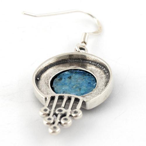 Silver Bead Roman Glass Earrings 2 - Baltinester Jewelry