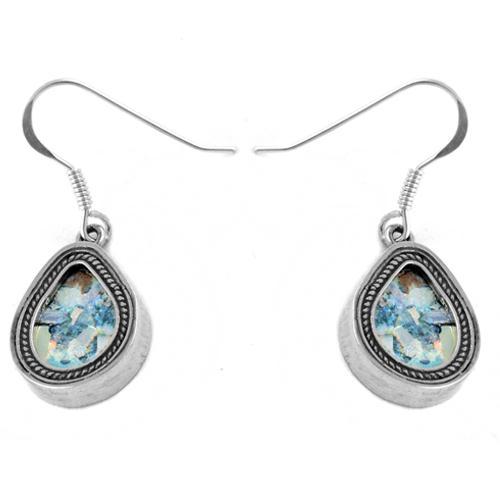 Roman Glass Tear Drop Silver Earrings - Baltinester Jewelry