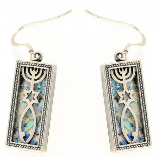 Grafted-In Roman Glass Rectangle Earrings - Baltinester Jewelry