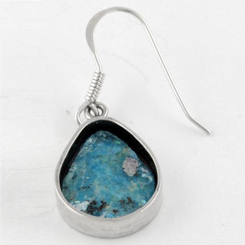 Roman Glass Tear Drop Silver Earrings 2 - Baltinester Jewelry