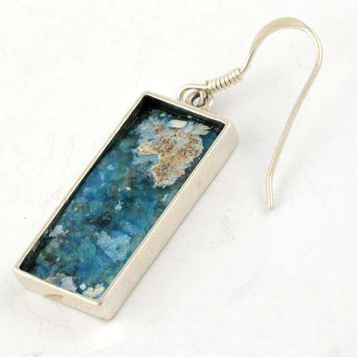 Grafted-In Roman Glass Rectangle Earrings 2 - Baltinester Jewelry