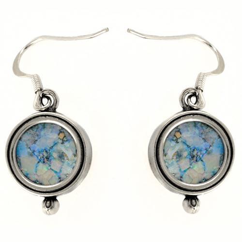 Silver Roman Glass Circular Round Earrings - Baltinester Jewelry