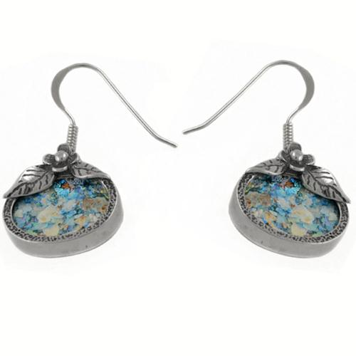 Oval Flower Roman Glass Earrings - Baltinester Jewelry