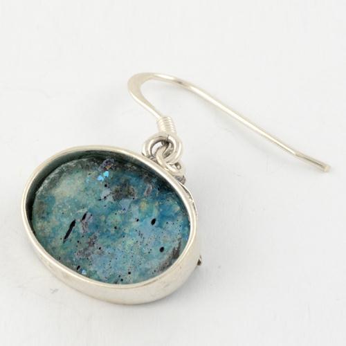 Oval Flower Roman Glass Earrings 2 - Baltinester Jewelry
