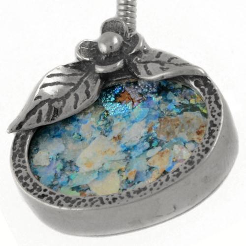 Oval Flower Roman Glass Earrings 3 - Baltinester Jewelry