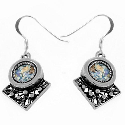 Sterling Silver Roman Style Roman Glass Earrings - Baltinester Jewelry