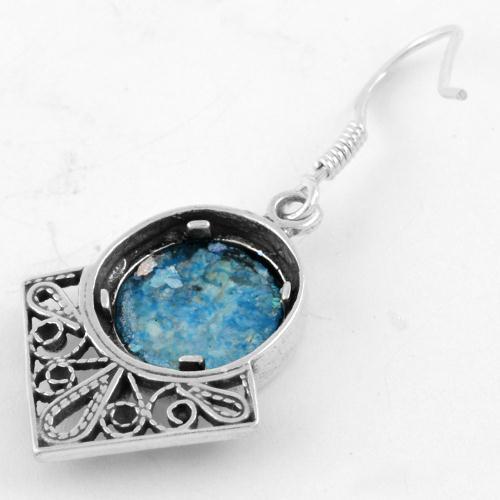 Sterling Silver Roman Style Roman Glass Earrings 2 - Baltinester Jewelry