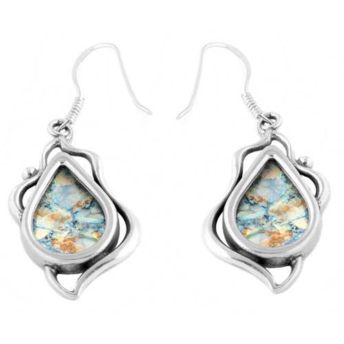 Leaf Tear Drop Roman Glass Earrings - Baltinester Jewelry