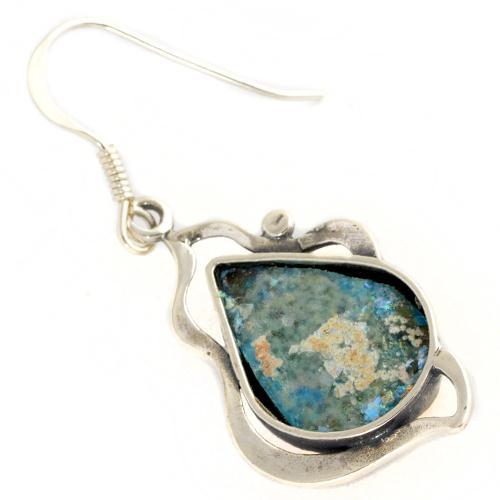 Leaf Tear Drop Roman Glass Earrings 2 - Baltinester Jewelry