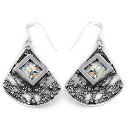 Large Roman Glass Lace Fan Earrings - Baltinester Jewelry
