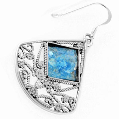 Large Roman Glass Lace Fan Earrings 2 - Baltinester Jewelry