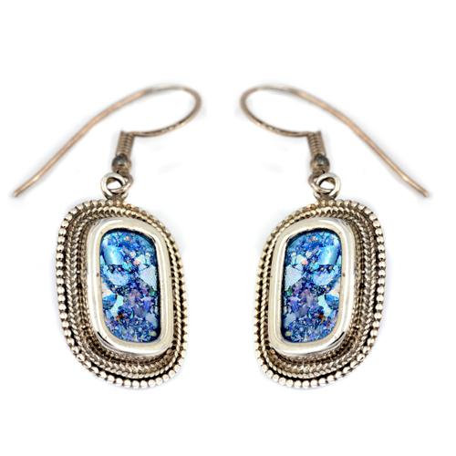 Silver Roman Glass Rounded Beaded Earrings - Baltinester Jewelry