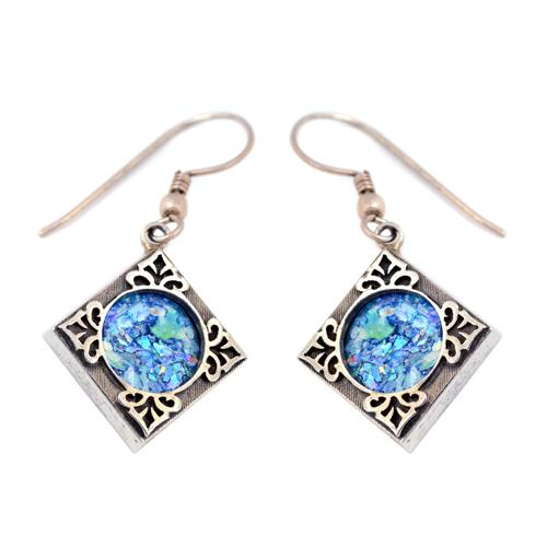 Silver Roman Glass Square Leaf Earrings - Baltinester Jewelry