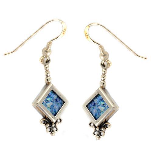 Silver Roman Glass Diamond-Shaped Earrings - Baltinester Jewelry