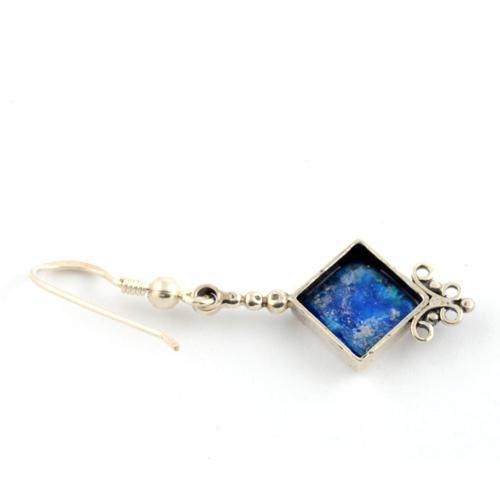 Silver Roman Glass Diamond-Shaped Earrings 2 - Baltinester Jewelry