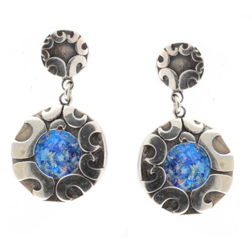 Silver Double Circle Roman Glass Earrings - Baltinester Jewelry