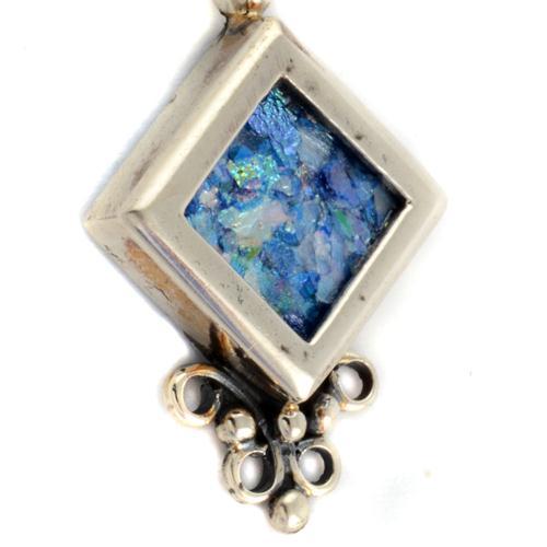 Silver Roman Glass Diamond-Shaped Earrings 3 - Baltinester Jewelry