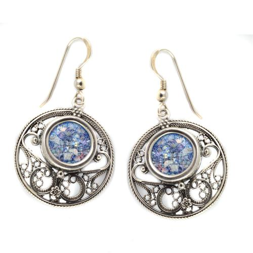 Silver Roman Glass Circle Filigree Earrings - Baltinester Jewelry