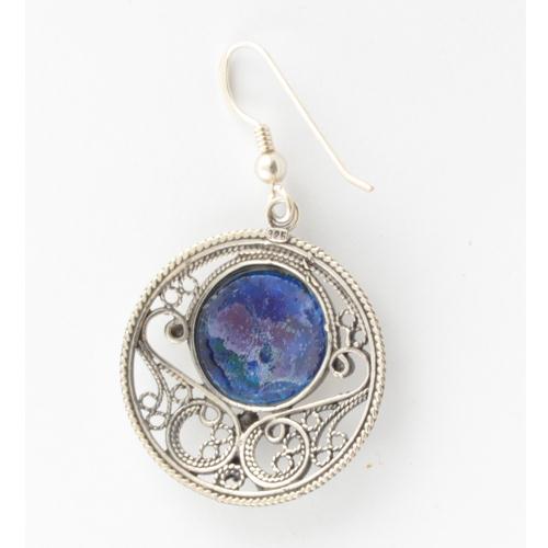Silver Roman Glass Circle Filigree Earrings 2 - Baltinester Jewelry