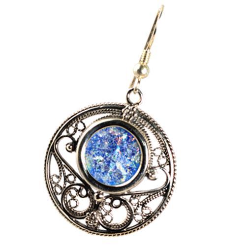 Silver Roman Glass Circle Filigree Earrings 4 - Baltinester Jewelry
