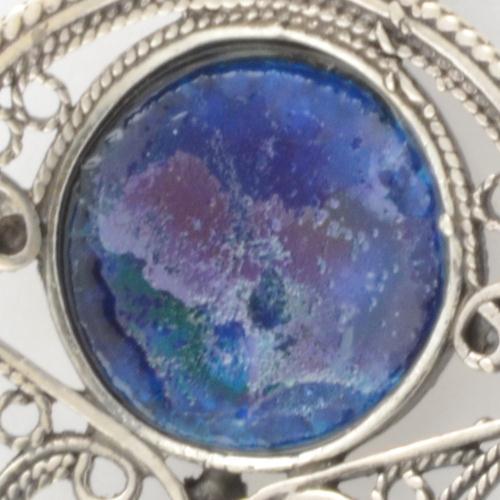 Silver Roman Glass Circle Filigree Earrings 3 - Baltinester Jewelry