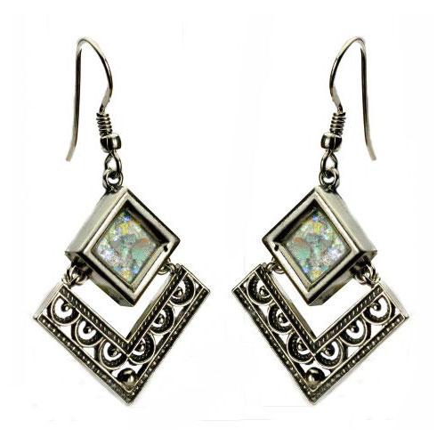 Sterling Silver Filigree Roman Glass Rhombus Earrings - Baltinester Jewelry