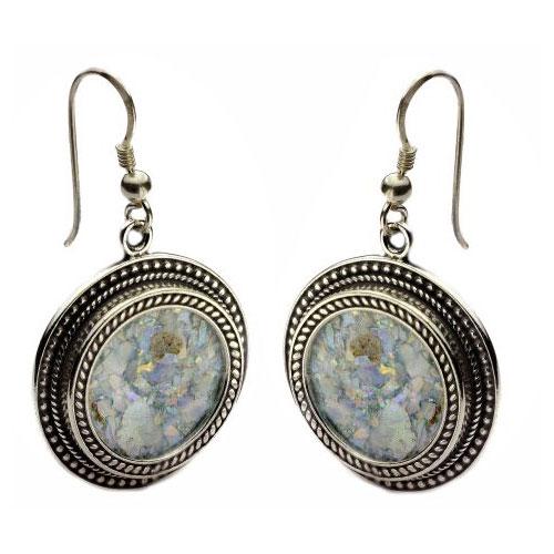 Silver Yemenite Round Roman Glass Earrings - Baltinester Jewelry