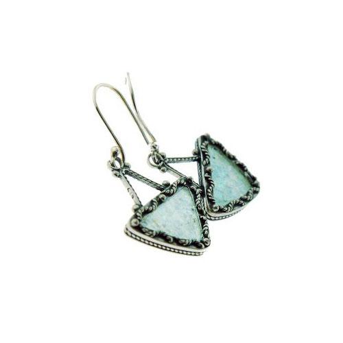 Triangle Filigree Roman Glass Earrings 2 - Baltinester Jewelry