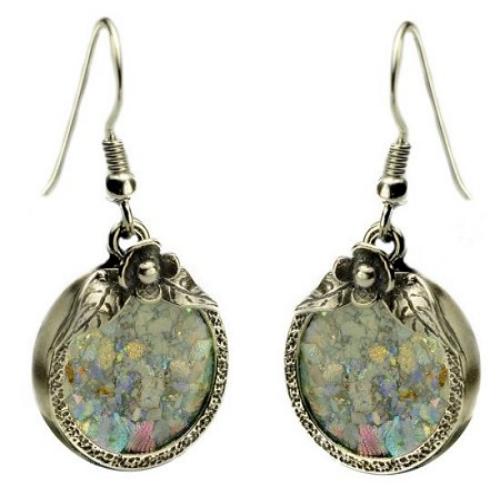 Silver Flower Roman Glass Earrings - Baltinester Jewelry