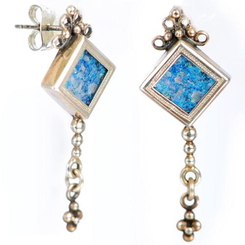 Roman Glass Chain Earrings - Baltinester Jewelry