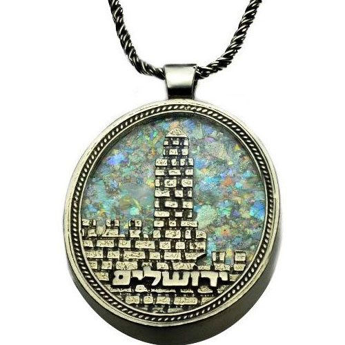 Silver Tower of David Roman Glass Necklace - Baltinester Jewelry