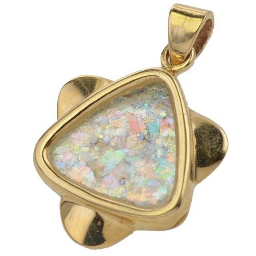 14K Gold Roman Glass Rounded Star of David Pendant - Baltinester Jewelry