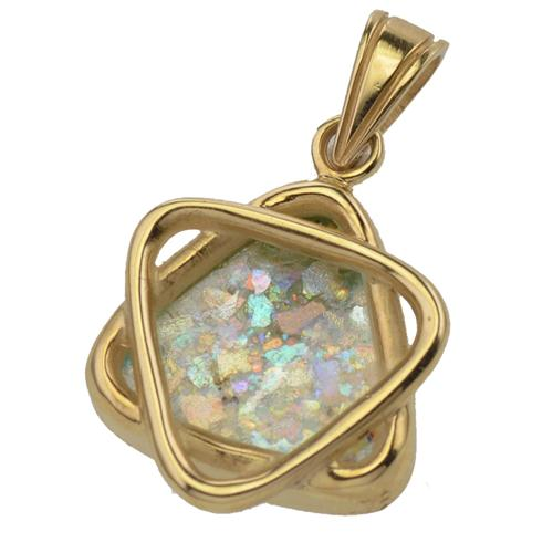 14K Gold Roman Glass Star of David Pendant - Baltinester Jewelry