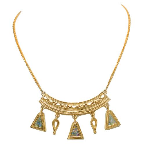 14k Gold Roman Glass Yemenite Necklace - Baltinester Jewelry