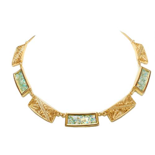 14k Gold Roman Glass Filigree Necklace - Baltinester Jewelry